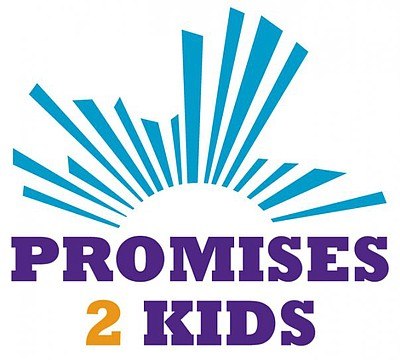Graphical logo for Promises 2 Kids, foster kids guardian program.