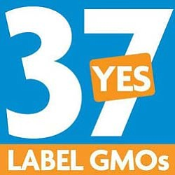 Graphic logo for Right To Know GMO - Label Genetically Engineered Foods. Courtesy of California Right To Know.