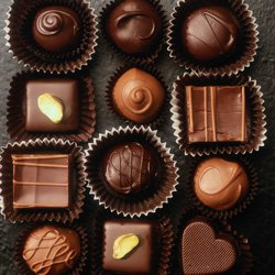 """Promotional photo of a box of chocolates for San Diego Natural History Museum's """"Chocolate"""" exhibit, October 12, 2012 – March 10, 2013."""