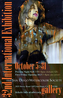 Graphical flyer for San Diego Watercolor Society's 32nd Annual International Exhibition from October October 5th – October 31st.