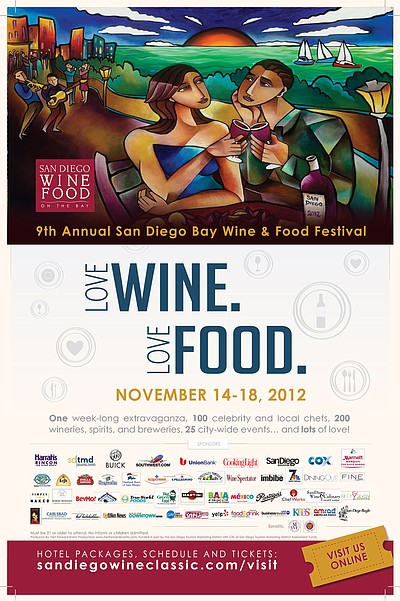 Promotional graphic for the San Diego Bay Wine & Food Festival taking place on November 14th-18th, 2012.