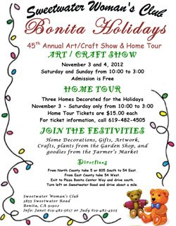 Promotional flyer for Sweetwater Woman's Club Bonita Holiday.