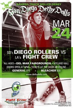 """Graphical flyer for San Diego Derby Dolls """"Diego Rollers"""" vs. LA """"Fight Crew""""."""