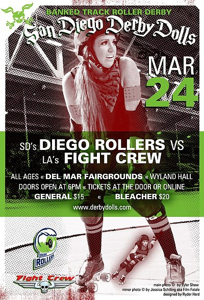 "Graphical flyer for San Diego Derby Dolls ""Diego Rollers"" vs. LA ""Fight Crew""."