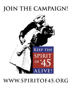 "Graphic logo for the ""Keep the Spirit of '45 Alive"" campaign. Courtesy of the San Diego Veteran Veterans Museum and Memorial Center."