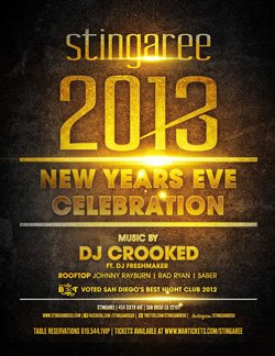 Promotional flyer for ringing in 2013 with Stingaree.