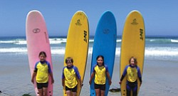 Promotional image for Birch Aquarium at Scripps Summer Learning Adventure Camps. Image of four children with long boards from previous summer adventure camp
