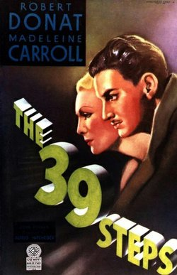 "Promotional graphic for Alfred Hitchcock's ""The 39 Steps."""