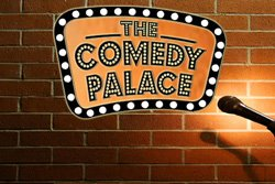 Graphic logo for The Comedy Palace, hosting two New Year's Eve shows.