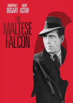 "Promotional movie poster for ""The Maltese Falcon"" playing at San Diego Museum of Art's First Friday Films."