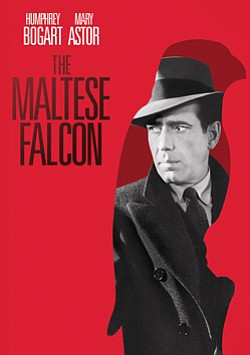 """Promotional movie poster for """"The Maltese Falcon"""" playing..."""