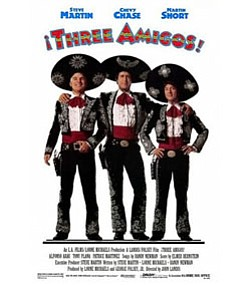 "Promotional graphic for the film ""Three Amigos."" Courtesy of Orion Pictures"