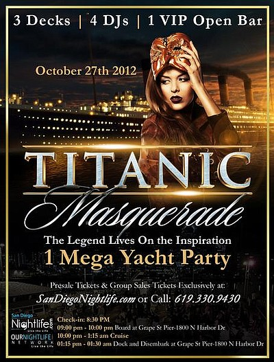 Promotional graphic for the Titanic Halloween Masquerade ...