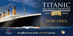 """Promotional logo for the """"Titanic: Artifact Exhibition"""" Centennial Week. Courtesy of San Diego Natural History Museum"""