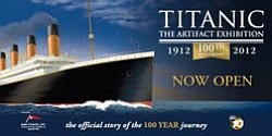"Promotional logo for the ""Titanic: Artifact Exhibition"" Centennial Week. Courtesy of San Diego Natural History Museum"