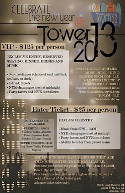 Graphic flyer for Celebrate the New Year's Eve at Tower 13.