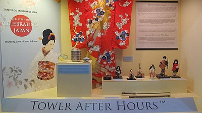 Promotional image of Towers After Hours: Japan exhibit at the San Diego Museum of Man.