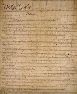 """Promotional image of The United States Constitution part of the San Diego Library lecture program, """"Searching for Democracy: A Public Conversation about the Constitution."""""""