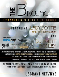 "Promotional flyer for US Grant New Year's Eve Soiree; The Bivouac! on December 31st. ""An epic end to 2012!"