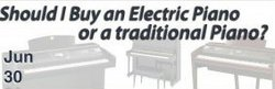Promotional graphic for Should I Buy an Electric or Traditional Piano workshop at Greene Music