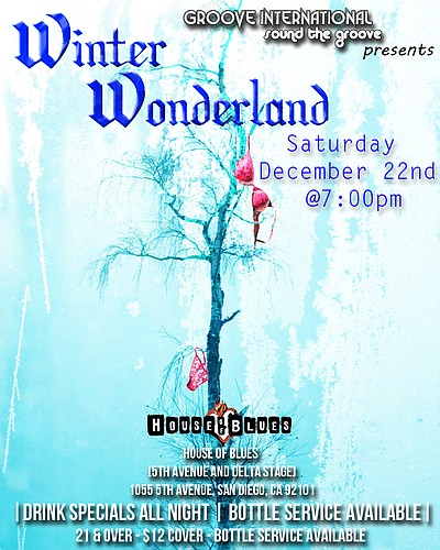 Promotional graphic for the WINTER WONDERLAND on 5th Avenue & Delta Stage, presented by Groove International on Saturday, December 22, 2012 at 8 p.m. Courtesy of Groove International