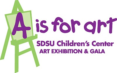 Graphic logo for A Is For Art. Courtesy of SDSU Children's Center
