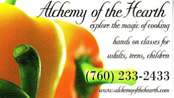 "Promotional graphic for the Alchemy of the Hearth, ""Explore the magic of cooking, hands on classes for adults, Teens and children."" Courtesy of the Alchemy of the Hearth."