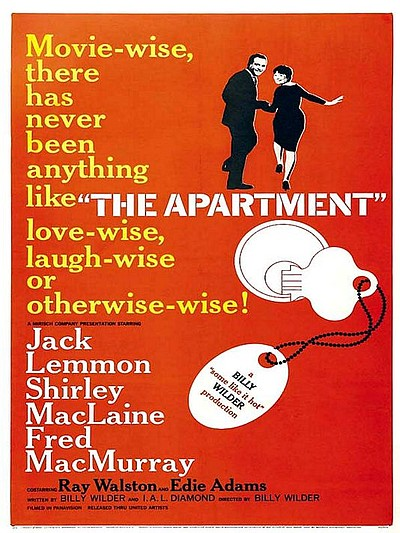 "Promotional graphic for the film, ""The Apartment"" screening at the Central Public Library on September 19th, 2012."