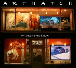 "Exterior photo of the ArtHatch & Distinction Gallery presenting the ""Taetrum Et Dulce: Lux In Tenebris"" exhibition from September 8 - October 6, 2012."
