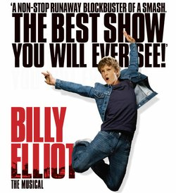 "Promotional graphic for ""Billy Elliot the Musical"" being performed at the San Diego Civic Theatre"