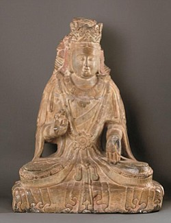 Bodhisattva, limestone with traces of pigment, ca. 550–77, Xiangtangshan, China, Bequest of Mrs. Cora Timken Burnett, 1957.469