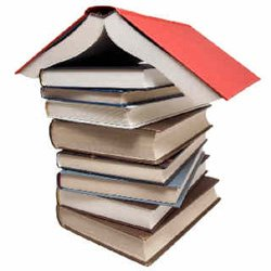Promotional image of books stacked.