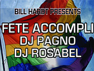 Promotional graphic for the 'San Diego Pride Parties' 2012 Ft. Fete Accompli on July 22nd.