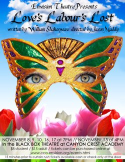 """Promotional image of Canyon Crest Academy Envision Theatre's """"Love's Labour's Lost""""."""