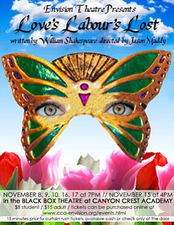 "Promotional image of Canyon Crest Academy Envision Theatre's ""Love's Labour's Lost""."