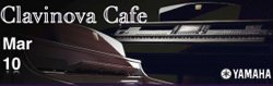 Promotional graphic for Clavinova Cafe hosted by Greene Music