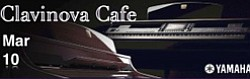 Promotional graphic for Clavinova Cafe hosted by Greene M...