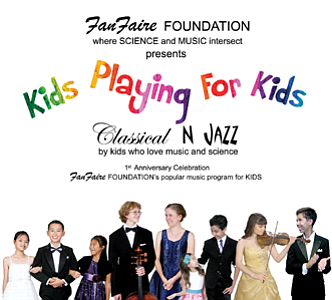 "Promotional graphic for the CD Release of ""Kids Playing For Kids - Classical and Jazz"""