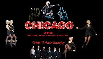 "Promotional graphic for the musical ""Chicago"" US Tour with Christie Brinkley"