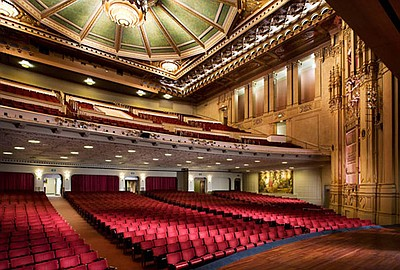 Interior image of Copley Symphony Hall, where Jahja Ling and Jessie Chang will perform their Concerto For Two Pianos.