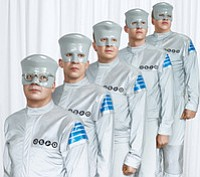 Promotional graphic for Devo's upcoming concert at Humphreys Concerts by the Bay on May 12th at 8pm. Courtesy of Devo.