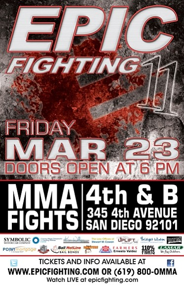 Promotional graphic for Epic Fighting 11, MMA Fighting
