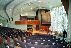 Interior image of the First Unitarian Universalist Church of San Diego auditorium.