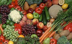 Promotional image of fruits and vegetables.
