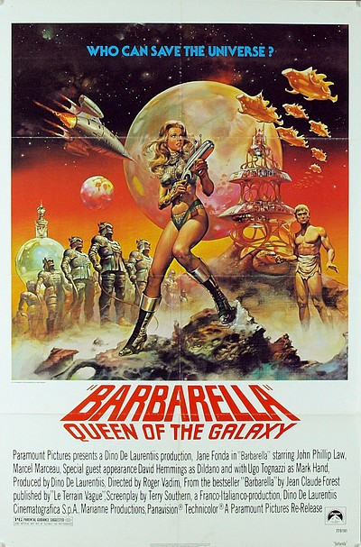 "Promotional graphic for the film, ""Barbarella (1968)"" being played at the Central Public Library on August 6th."