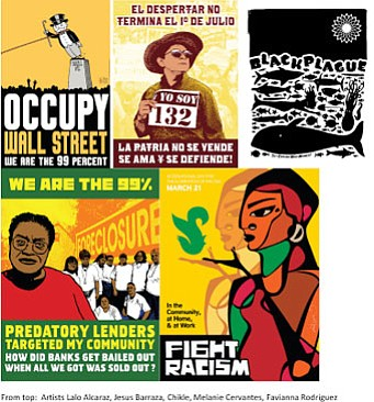 "Promotional graphic for the ""agitPOP: Protest Becomes Graphic"" Reception & Presentation on October 11th, 2012. Courtesy of the San Diego Mesa College: Art Gallery."