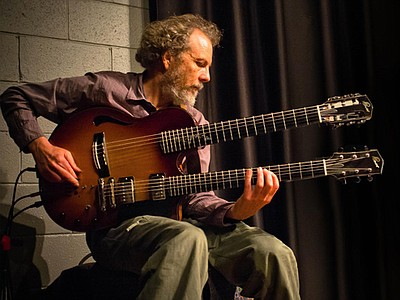 Image of legendary guitarist, Peter Sprague, who will be performing with Camarada on January 6th, 2013 at the Encinitas Library.