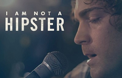 "Promotional graphic for ""I AM NOT A HIPSTER"" film screening at the Museum of Photographic Arts in Balboa Park, sponsored by the San Diego Film Festival"