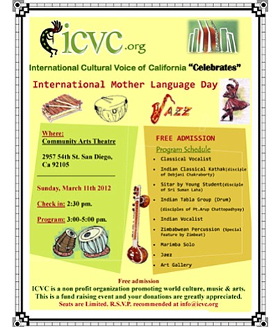 "Promotional graphic for International Culture Voice of California, ""International Mother Language Day"""