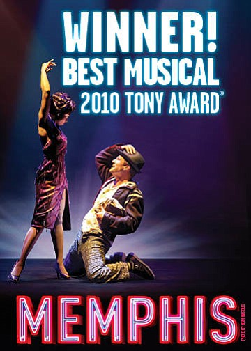 "Promotional graphic for ""Memphis"" the Broadway musical being performed at the San Diego Civic Theatre"